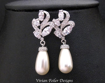 Bridal Earrings Pearl VINTAGE Style Cubic Zirconia Dangle Wedding Jewelry Bling Mother of the Bride