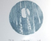Original print drypoint etching moonrise through the forest wood silver birch aspen