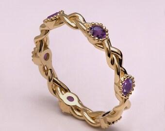 Braided Amethyst Engagement Ring, Braided Eternity Ring, celtic ring, Unique engagement ring, wedding band, celtic eternity ring, 2E