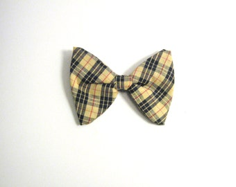 Large Yellow Plaid Vintage Bow Tie