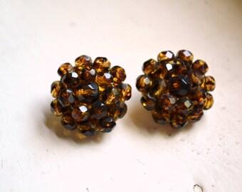 1960s Les Bernard Brown Crystal Cluster Clip Earrings