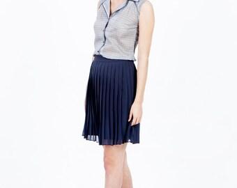 Blue pleated skirt, summer skirt, blue skirt, chiffon skirt, pleated mini skirt, short skirt, knee length skirt, high waisted skirt