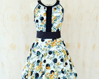 Luna Night Sweet Dress Pleated Top Gold Floral Black Polka Dot Dress Floral Summer Dress Prom Party Dress Wedding Bridesmaid Dress XS-XL