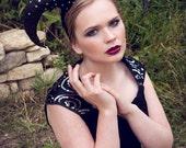 Swarovski ''Corona Infernis'' Ram Horn Headdress Goth Couture