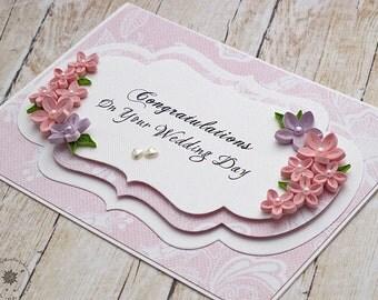 Wedding Congratulations Card - Floral Wedding Card - Handmade Congrats Card - Pink 3D wedding card