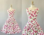 Vintage 50s Dress/ 1950s Cotton Dress/ Pink Rose Print Drop Waist Cotton Dress w/ Full Skirt M