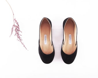 Black Suede Ballet Flats | Classic Ballerina Flats | Soft Nubuck Leather Shoes | Black Velvet...ready to ship