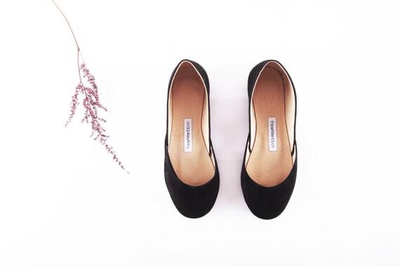 Black Suede Ballet Flats | Classic Ballerina Flats | Soft Nubuck Leather Shoes | Black Velvet...Ready to Ship