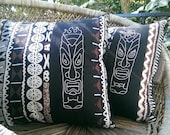 Tiki God & Goddess His n Hers Embroidered Pair of Pillows in Vintage Island Barkcloth Cotton Aloha