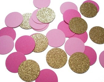 """50 Gold and Pink Confetti Circles 1"""", Bridal Shower Party Decorations  - No474"""