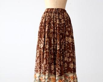 vintage 80s floral gauze full skirt