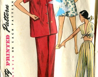 Simplicity 4312 Vintage 1940s Ladies' Pajamas Loungewear Pants Top Shorts B32