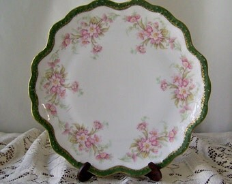 Antique Cake Plate Limoges France Serving Plate Dessert Plate Porcelain Plate France circa 1900