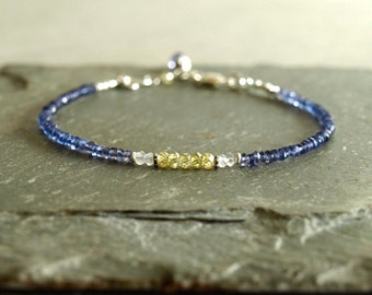 Iolite Bracelet, fine semi-precious gemstone jewelry, small bead bracelet, genuine blue iolite, zircon, moonstone, all sterling, tiny gems