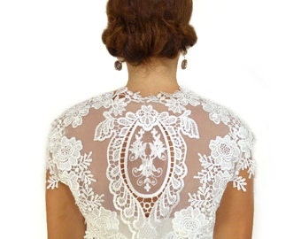 Lace Wedding Bolero Bridal Shrug Dentelle Guipure Ivory Romantic French Floral Cap Capped Short Long Sleeve : CYRIL Custom Size S/M/L