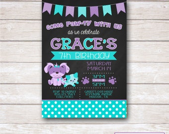 CHALKBOARD PUPPY & KITTY Birthday Party Invitation - Printable