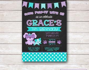 CHALKBOARD PUPPY & KITTY Birthday Party Invitation - Printable