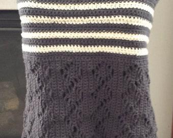 Smokey gray, all crochet halter top, plus size