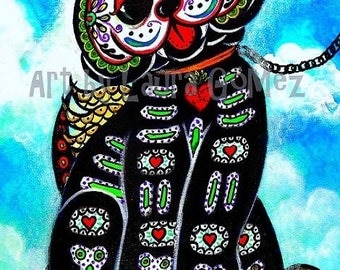 "Bad Dog? My Tail!!- Art Print by Laura Gomez- 8.5"" x 11"" Or 11"" x 17""- Day of the Dead Dog - Muertos- Mexican Art- From Original painting"