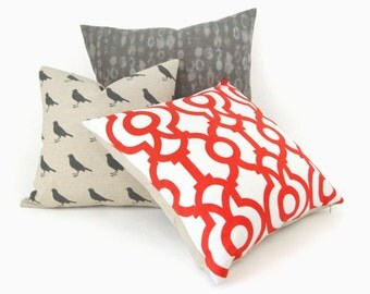 Modern Geometric Pillow in Lava Red, White and Natural Beige / 18x18 Decorative Throw Pillow Case, Cushion cover / Trellis Damask Accent