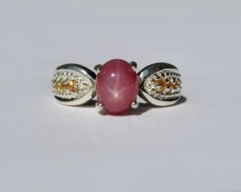 Star Ruby, Yellow Sapphire In Sterling Silver Ring, 2.58ct. Size 6.5