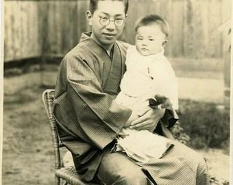 "Vintage Photo ""Japanese Father"" Asian Snapshot Photo Old Antique Photo Black & White Photograph Found Photo Paper Ephemera Vernacular - 177"