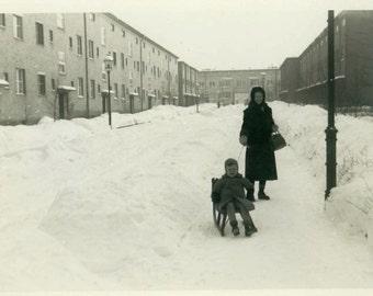 "Vintage Photo ""Urban Sledding"" City Snow Sled Snapshot Photo Old Antique Photo Black & White Photograph Found Photo Paper Ephemera - 127"