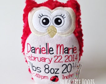 Stuffed Owl - Birth Announcement in Ladybug - Plush Owl, Stuff Owl - Stuffed Animal - Custom Owl - Personalized Owl - Red and Black Owl