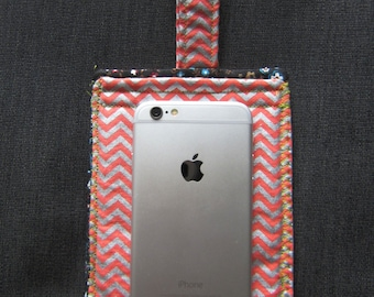 Coral & Silver Chevron Phone Holder