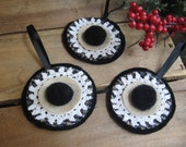 French Country Doily Christmas Ornaments Set of THREE Black White Tan Holiday Ornaments Primitive Rustic Tree Ornaments SnowNoseCrafts