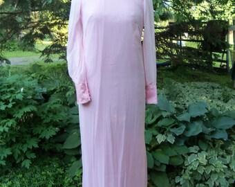Vintage Pink Satin Sheer Formal Prom Bridesmaid Dress Medium