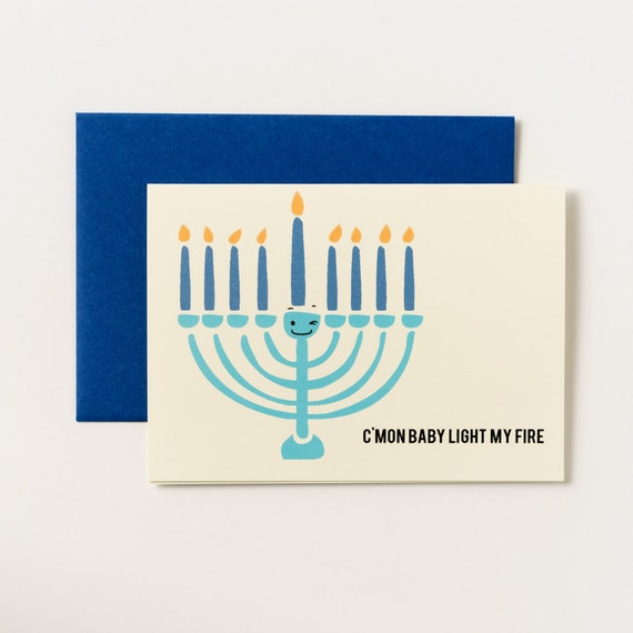 Light My Fire Menorah Hanukkah Greeting Cards - Set of 5
