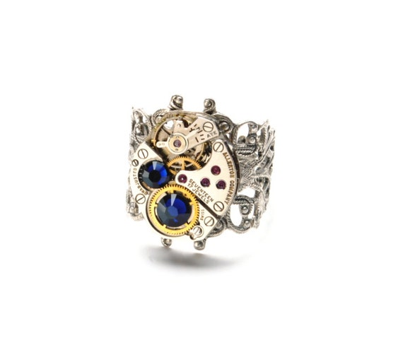 SEPTEMBER Steampunk Ring, SAPPHIRE Steampunk Jewelry, Vintage Watch Ring, Sapphire Blue Silver Ring Steam Punk Jewelry Victorian Curiosities