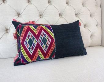 Vintage batik Hmong cushion cover, Cotton Fabric,lumbar cushion