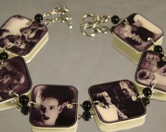 Bride of Frankenstein Bracelet - Monster Movie Jewelry - Black and White Film Jewellery