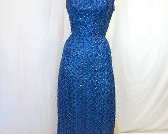 1950s Blue Sequin Wiggle Gown