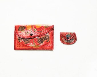 Vintage Stained Leather Wallet Set , Tooled Leather Clutch