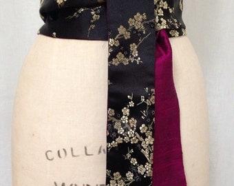 Black and Gold Cherry Blossom Brocade and Purple Silk Shantung Reversible Obi Sash