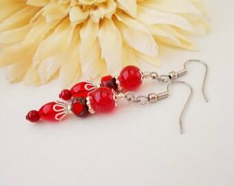 Red Coral Earrings Sterling Silver Jewelry, Mothers Day Gift for Girlfriend, Boho Earrings Bohemian Jewelry, Beaded Dangle Earrings Clip On