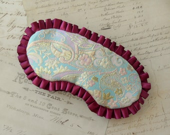 All That's Gilded Sleep Mask in Burgundy Ruffles, Pastel Brocade // Pink, Aqua, Metallic Gold
