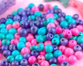 Sweet Sunrise Acai Beads Mix: Real, Natural South American Eco- Friendly, 10mm, 100 beads, Pink, Purple, Aqua Mix, Jewelry Making Supply