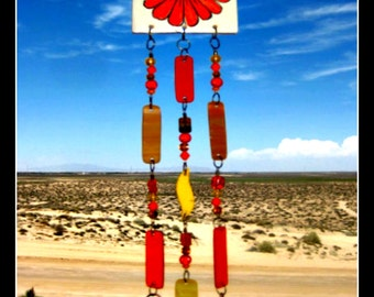 Painted Flower Tile Windchime with Stained Glass, Beads & Bells