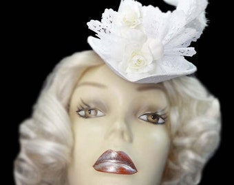 White Wedding Top Hat Fascinator Roses Lace Mini Victorian Steampunk Bride Bridal Veil