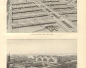 1902 Architecture of Train Stations, New York, Gleiwitz, Metz, Liverpool Vintage Print