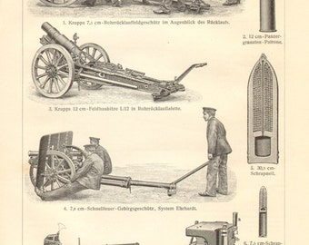 1908 Artillery Guns, Field Guns, Mountain Guns Vintage Engraving Print