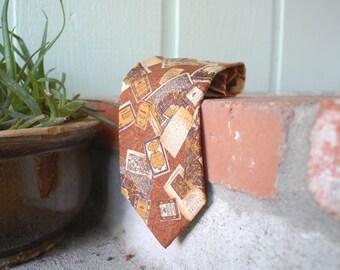 Vtg Valentino Cravatte Necktie Italian Handmade Silk Tie Suit and Tie Travel Theme Book Historical Rustic Brown Spring Fashion Prep Hipster