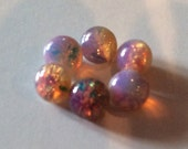 Vintage Harlequin Fire Opal Cabochons Round 6mm Pointed back  QTY - 6
