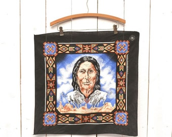 Southwest Bandanna Scarf Early 90s Navajo Buffalo Tribal Print Black Vintage Head Neck Scarf