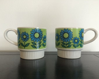 1960s japanese RETRO/ floral ZEN tea cups / set of 2
