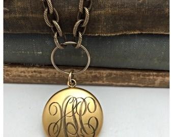Monogrammed  Locket Necklace Vintage Necklace